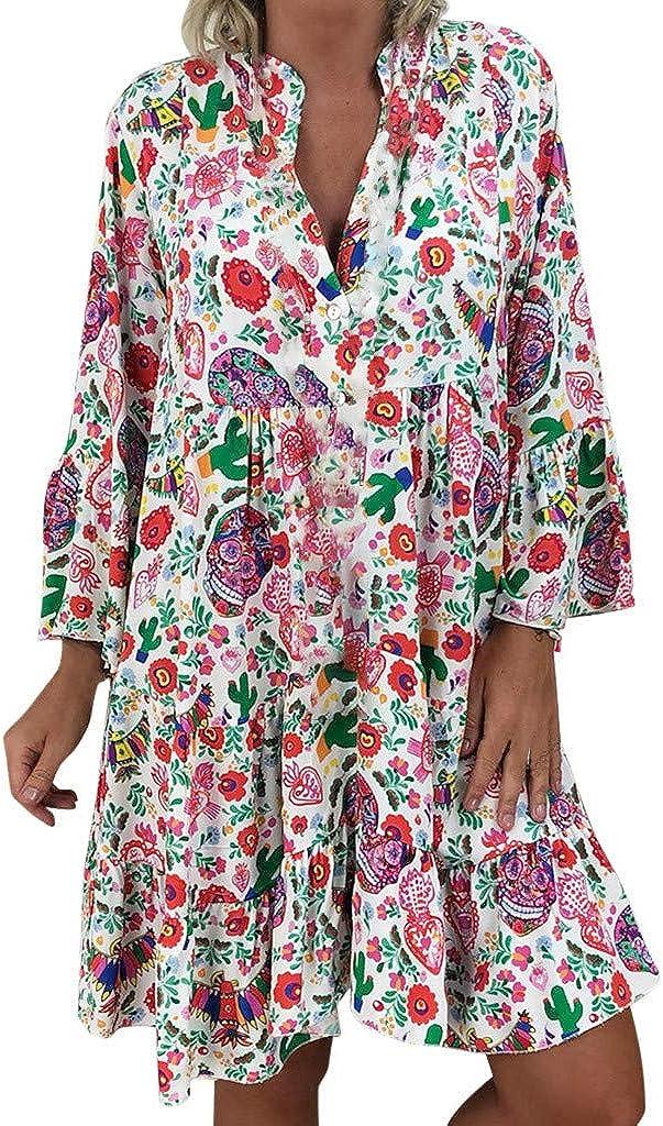 Jinjin2 Womens Floral Dress Beach Skirt Party Dress Elegant Loose Summer Dress Long Sleeve V Neck