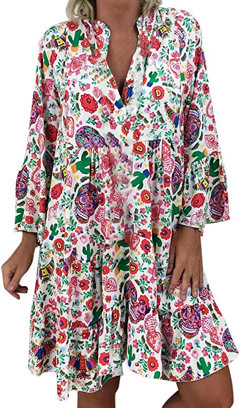 AmyDong Women S Three Quarter Sleeve Loose Large Size Dresses Ladies Printed Summer Mini Dress