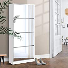 Artiss 60 Pairs Shoe Cabinet Full Length Mirrored Shoe Rack Cupboard Organiser, White