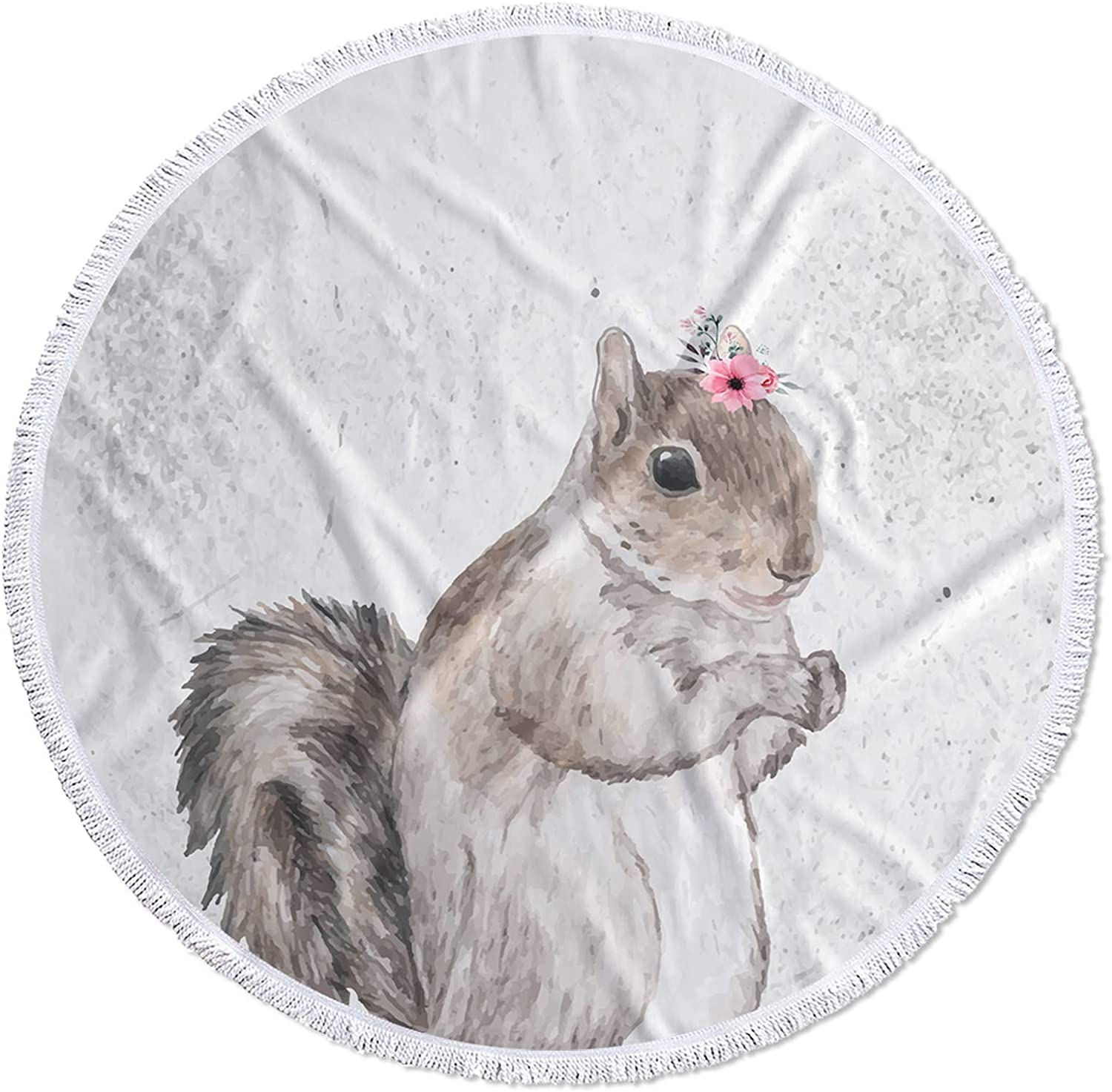 Large Round Max 49% OFF Microfiber Beach Towel Purchase Cute Blanket Squi Watercolor