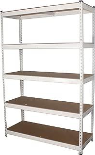 "MonsterRax 18""x48""x72"" Modular Garage Shelving – White Steel Storage Rack – 300 Pounds Per Shelf – 5-Tier Shelves/Work Bench (18x48x72)"
