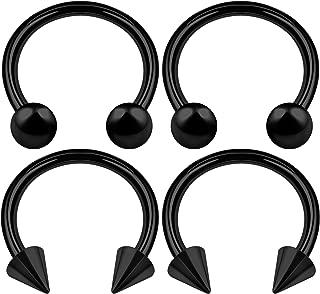 4PCS Surgical Steel Black Horseshoe Earrings 14 Gauge 4mm Ball Spike Septum Earrings Eyebrow Piercing Jewelry Choose Sizes