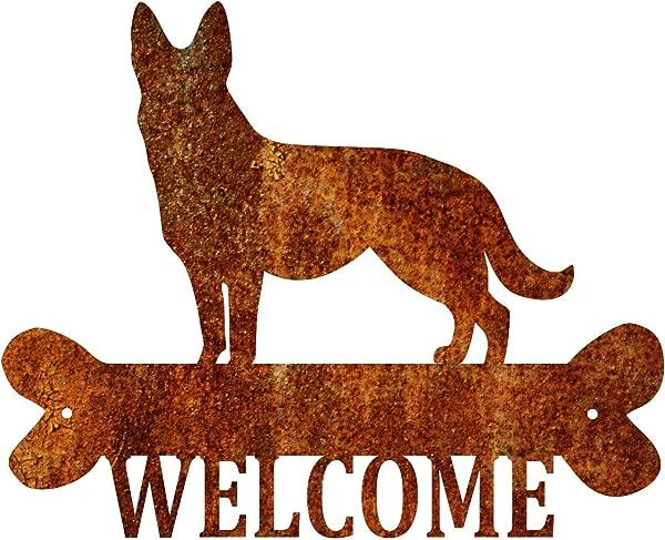 Precision Metal Art German Shepherd Steel Laser Cut Wall Art With Welcome Script 18 Patina