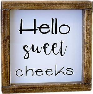 Lavender Inspired Hello Sweet Cheeks Rustic Bathroom Sign- Funny Bathroom Wall Decor-Farmhouse Shelf Sitter Signs-Guest Bath-Powder Room Decor-Housewarming Gifts 7x7