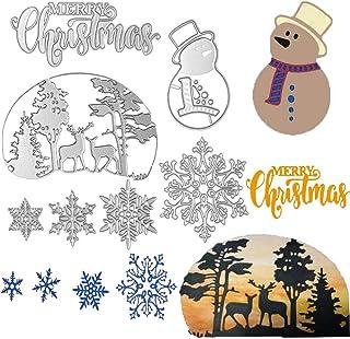 FunMove Joyeux Noël Flocon de Neige Noël Bonhomme de Neige Arbre cerf Coupe en métal Meurt Pochoir Papier de Scrapbooking ...