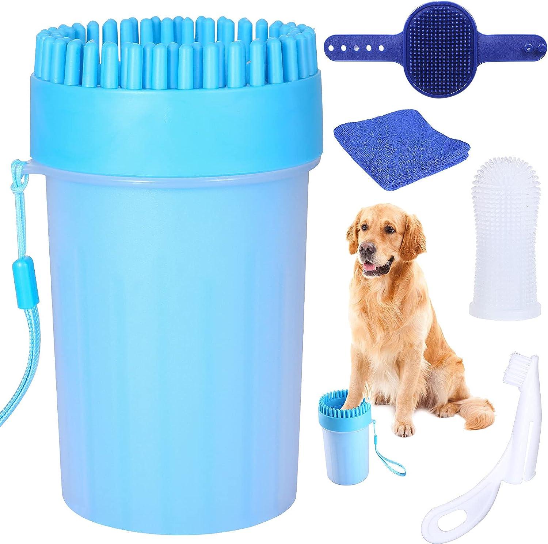 Tallgoo Limpiador de Huellas de Perro,Limpiador de Patas de Perro,Taza de Limpieza para Mascotas con Toalla para Limpiar Pies Sucios de Mascotas
