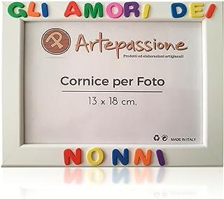 Cornici per foto in legno con la scritta Gli Amori dei Nonni, da appoggiare o appendere, misura 13x18 cm Bianca. Ideale pe...
