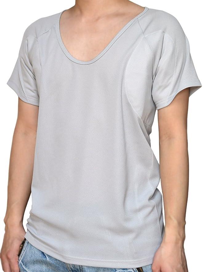 立ち寄る新しい意味銛[クレール] CREAL 脇汗パッド付きシャツ ワイドパッド(深Uネック エアロタッシュ/ラグラン) 吸水速乾/抗菌防臭/接触冷感