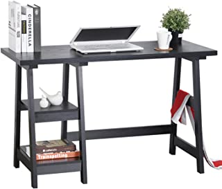 Computer Writing Desk Laptop Table Black Trestle Desk Home Office Rectangle Study Reading Desk Kids Table with 2 Removable Tiers Shelves with Hutches
