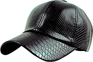 Maze Women's Glossy Solid Color Faux Alligator Skin Snapback Baseball Cap