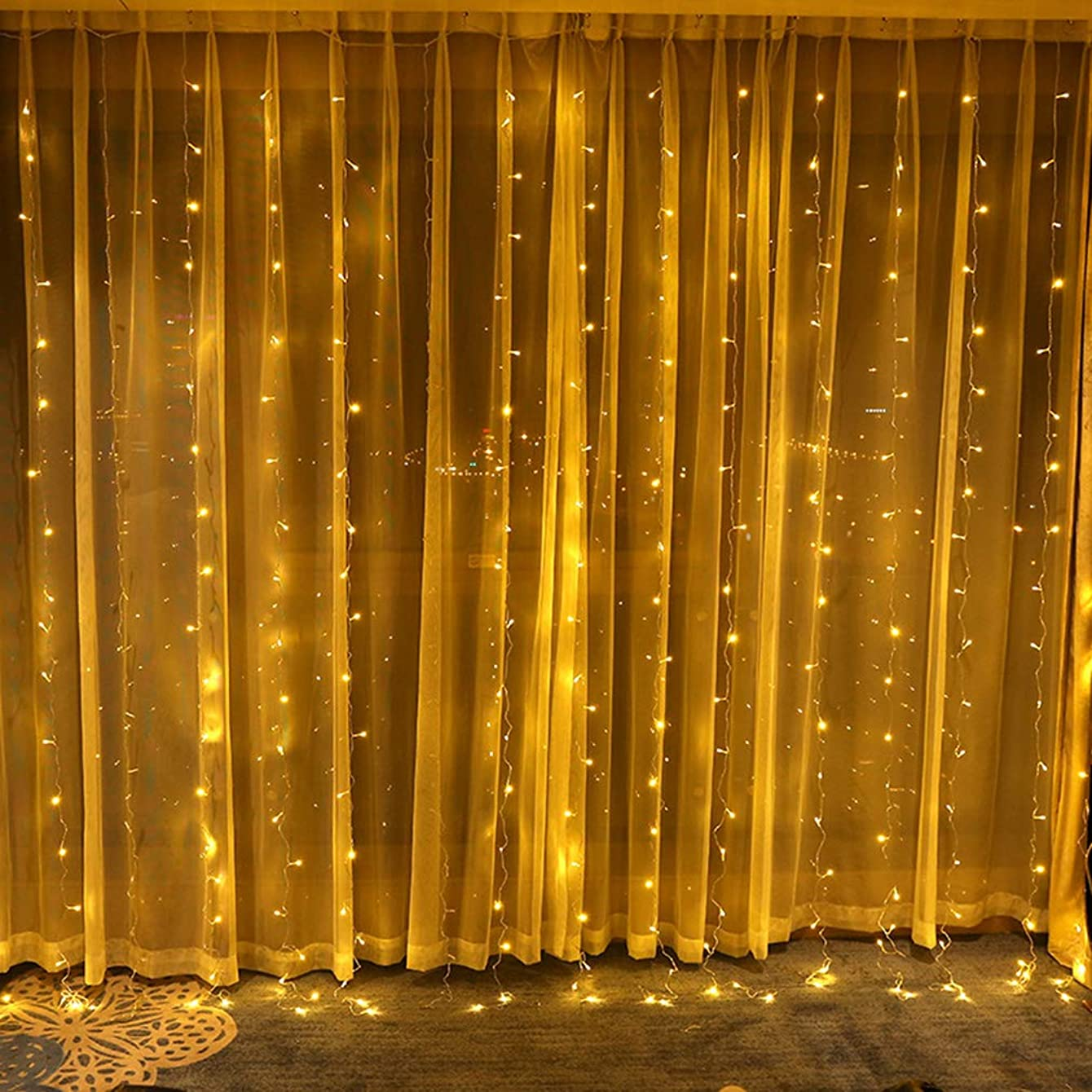Jefferson Curtain Icicle Lights Outdoor Indoor Fairy String Lights for Party Christmas Wedding Backdrops Home Window Patio Lawn Garden Decorative Starry Light 304 LED 9.8ftx9.8ft 8 Modes (Warm White)