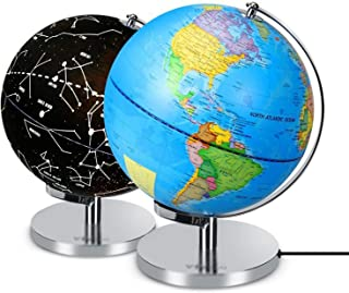 Educational Toy LED Light Desktop Decoration USB Powered Office with Stand World Map Geography Earth Globe Home for Teachi...