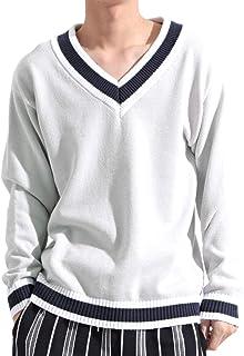 バレッタ 綿 ニット Vネック チルデン ニット セーター ビッグ ワイド 長袖 ストリートモード 春 メンズ