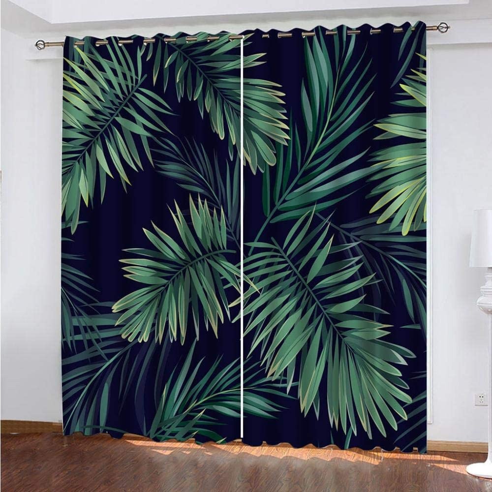 SDSONIU Blackout Curtains Kids Room Boy Max 74% OFF Print Leaves 3D Green Phoenix Mall