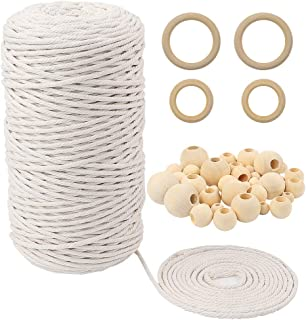 TUPARKA 109 Yadrs 3mm Natural Macrame Cord with 60 pcs Wood Beads 6pcs Wood Ring and 4pcs Wooden Stick for Crafts,DIY Plant Hangers