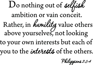 Do Nothing Out of Selfish Ambition Quote Wall Decal Philippians 2:3-4 VWAQ-1592 (Black)