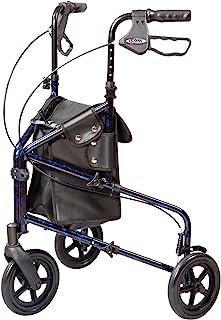 Carex Health Brands 3 Wheel Walker for Seniors Foldable Rollator Walker with Three Wheels Height Adjustable Handles, Blue,...