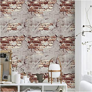 "Brick Wallpaper Peel and Stick Wallpaper 17.7"" X 118""WashRed/Gray Stone Wallpaper Self Adhesive for Kitchen Countertop Tab..."