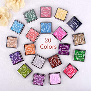 RUNGAO Colorful Ink Pad 20 Colors Rainbow DIY Craft Finger Ink Pads for Rubber Stamps Card Making