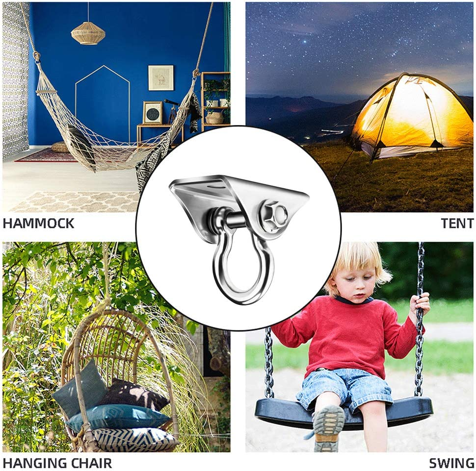 1x Carabiner 2X Stainless Steel Screws 180/°Rotate Swing Suspension Hooks QLG/&S SUS304 Permanent Antirust Stainless Steel Heavy Duty Swing Hanger 1000 LB Capacity 2X Stainless Steel Bolts