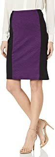 Star Vixen Women's Knee Length Slimming Colorblock Ponte Knit Pencil Skirt with Back Slit
