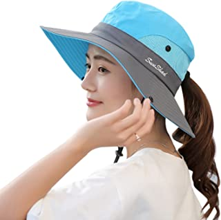 5a64d53b6f26e Muryobao Women s Outdoor UV Protection Foldable Mesh Wide Brim Beach  Fishing Hat