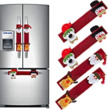 U_star 4 Pcs Christmas Refrigerator Handle Covers Microwave Oven Dishwasher Handle Covers Santa Snowman Kitchen Appliance Handle Covers Protector Holiday Decorations