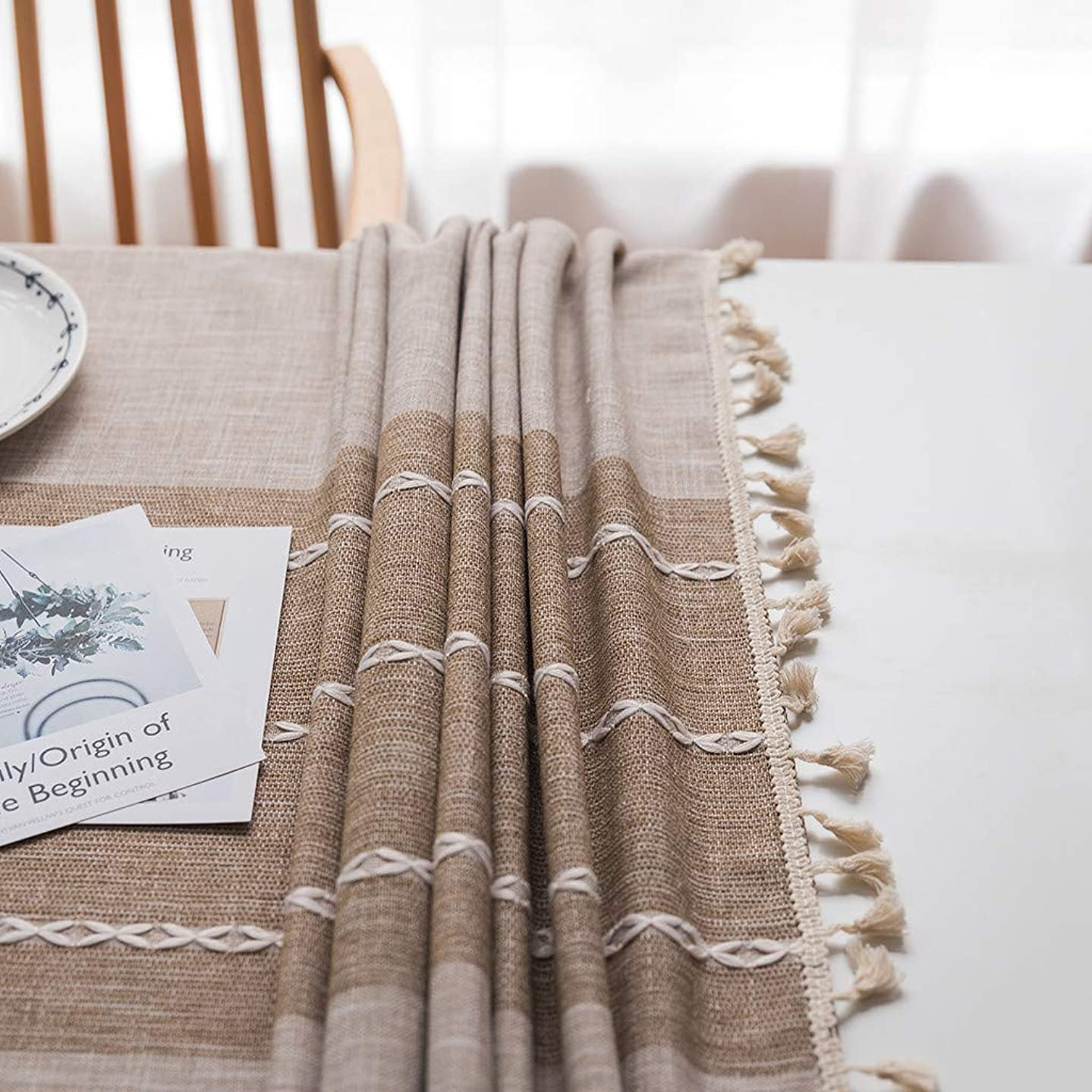 3-5 Days Arrive ?ree Ship from US, Splicing Cotton And Linen Small Fresh Tablecloth Rectangular Table Cloth