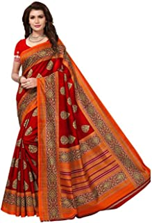 Mirraw Classiques Red Printed Art Silk Saree with Unstitched Blouse