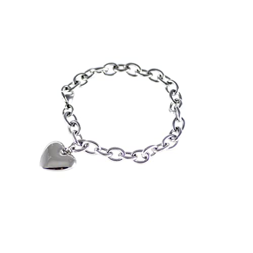 82b7cde5f4f7 Emblematic Jewelry Women s Stainless Steel Polished Heart Charm Bracelet ...