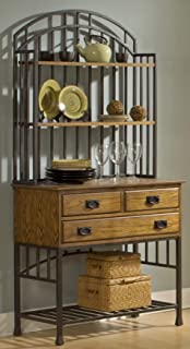 Oak Hill Distressed Oak Bakers Rack with Hutch by Home Styles