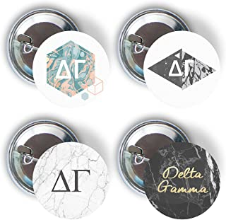 Delta Gamma Sorority Marble Variety Pack of Buttons Pin Back Badge 2.25-inch DG - Marble Pack