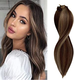 Human Hair Extensions Clip in Strawberry Blonde Highlights Medium Brown 14 inches 100g Balayage Clip on Hair Extension for Women Double Weft 8 Pieces 20 Clips Thick and Straight Full End #4P27