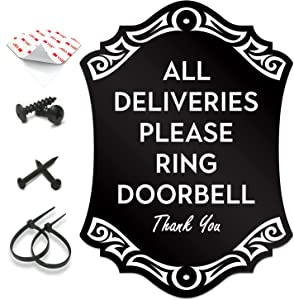 """SignSeries Delivery Instruction Door Sign - All Deliveries Please Ring Doorbell, House Sign, 6.25"""" X 4.5"""" - Mounting Hardware Included, Easy Installation - Heavy-Duty and Weather-Resistant"""