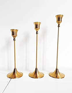dandelion home Set of 3 Metal Candlestick Holders, Candle Holder, Brass Gold Taper, Home Decor, Wedding Party, Dinning Tab...