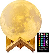 Moon Lamp Moon Night Light,3D Printing 16 Colors Moon Light with Stand & Remote &Touch Control and USB Rechargeable Decora...