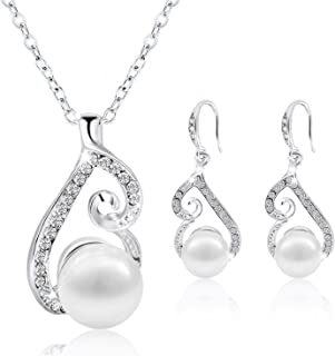 Morenitor Jewelry Set Gold Plated Faux Pearl Pendant...