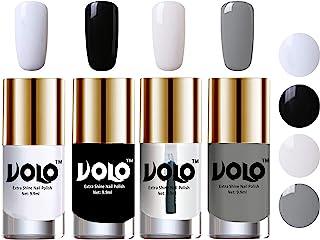 Volo HD Colors High-Shine Long Lasting Non Toxic Professional Nail Polish Set of 4 (Matte White, Black, Extra Shine Top Co...