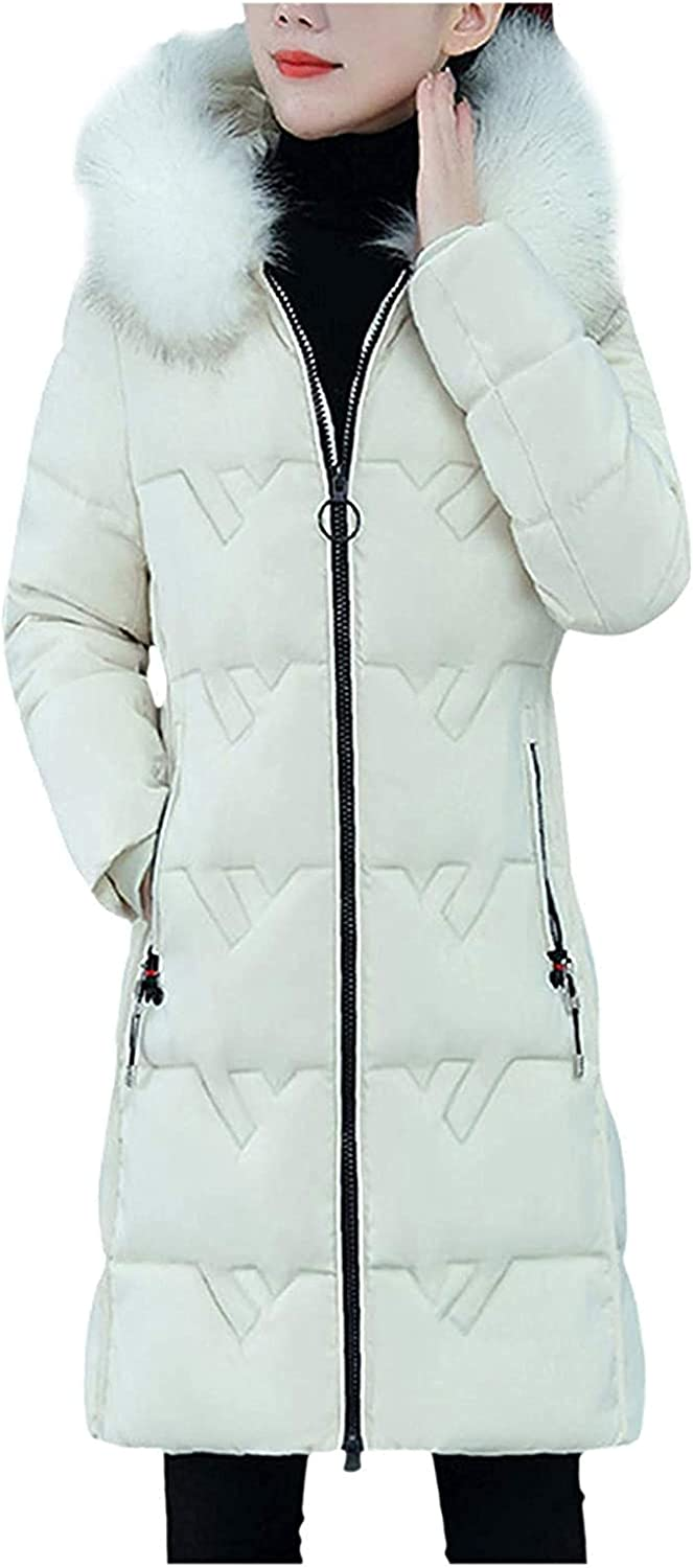 Women's Winter Mid-Length Coats with Faux Fur Hood, Womens Fashion Padded Coat Jackets Outerwear with Zipper Pockets