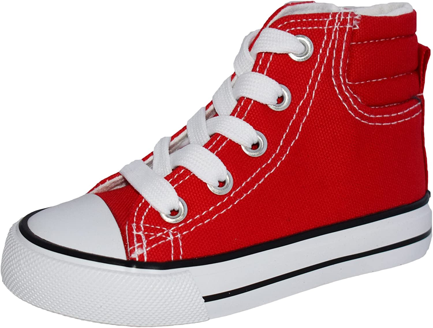 BOYS LACE UP CANVAS TRAINERS RED NAVY CASUAL TRAINER SHOES LAMBRETTA DECADE