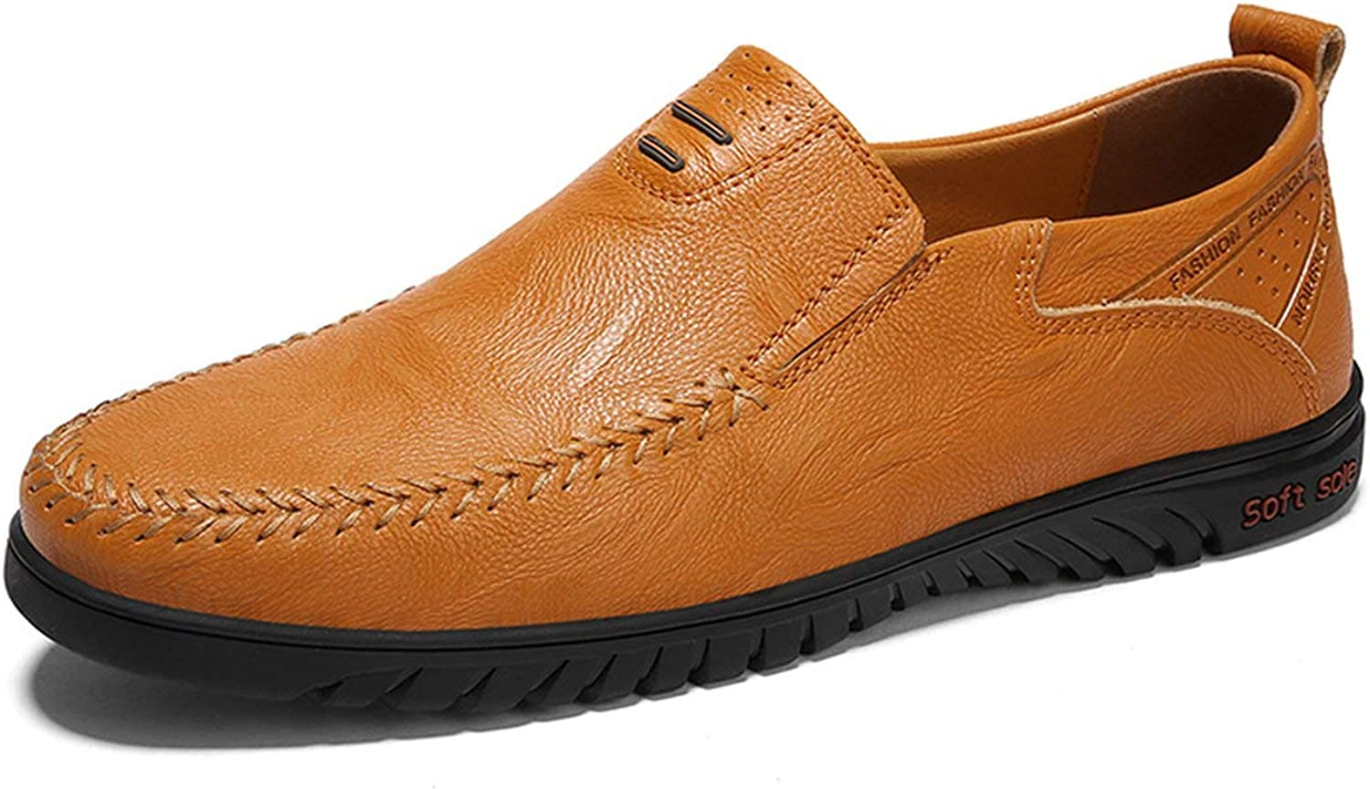 OH WHY Genuine Leather shoes Mens Loafers Moccasins Breathable Slip on Driving shoes Plus Size