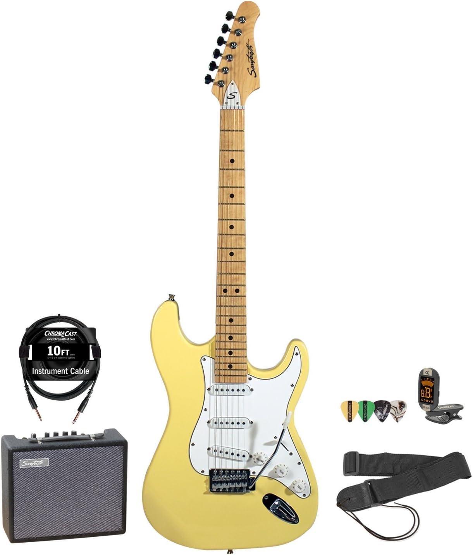 Sawtooth Daphne Blue Electric Guitar w//Pearl White Pickguard Includes Accessories /& 10-Watt Amp