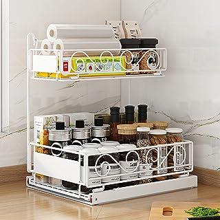 Etagère de Rangement sous évier Rack de Stockage Organisateur Rangement de Cuisine, Support de Rangement pour épices de Co...