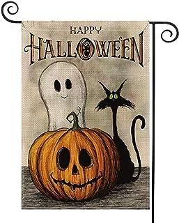 YSZJH Halloween Garden Flag, Halloween Decorations Outdoor 12×18 inch Double-Sided Happy Halloween Flag, Pumpkin Decorative Garden Welcome Yard Flag (Spooky Ghost Pumpkin Cat)