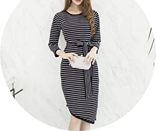 Lace Knitted Striped Bow Sashes Tunic Irregular Split Dress Casual Street Office Clothing