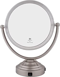 Floxite Lighted Mirror, Brushed Nickel, 8X plus 1X Magnification