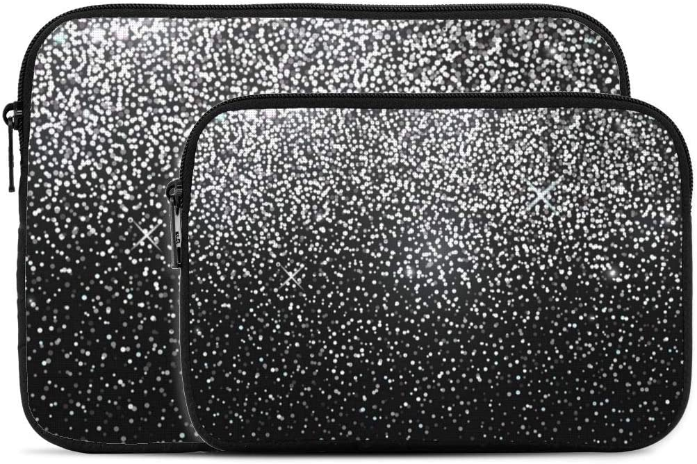 Laptop Sleeve Laptop Case Bag Protective Shockproof Computer Protective Bag Notebook Carrying Case Shiny Silver Glitter