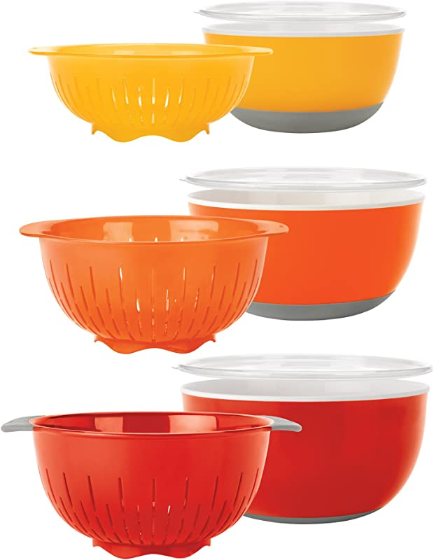 OXO Good Grips 9 Piece Nesting Bowls And Colanders Set Yellow Orange Red