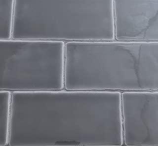 3x6 Graphite Dark Gray Glossy Glazed Subway Ceramic Tile Backsplashes Walls Showers