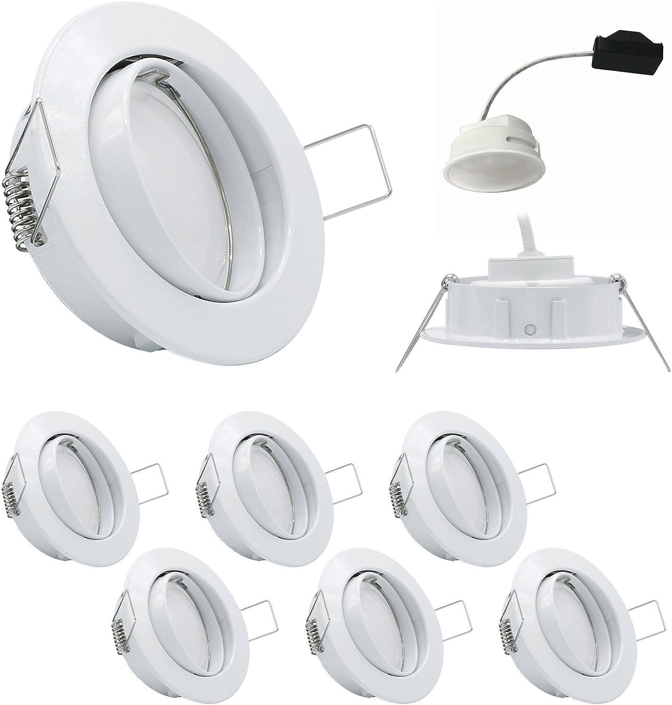 6x LED Einbauleuchten Weiss 5W 4000K 230V Modul flache Einbautiefe 35mm